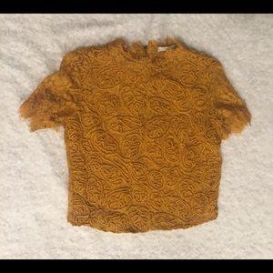 Mustard Lace Crop Top